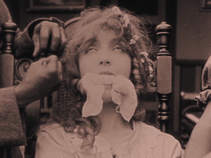 The very picture of imperilled femininity, Elsie Stoneman (Lillian Gish) awaits her forced marriage to the mixed race Silas Lynch in The Birth of a Nation.