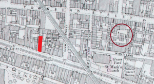 The map shows the location of Asylum Yard (ringed) and the Brunswick Street Picture House (red block) that