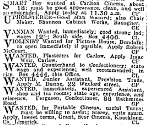 Cinema features strongly among the small ads in the Irish Independent, 2 Nov 1916: 2.