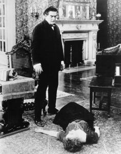 District Attorney Richard Walton (Tyrone Power) stands over the body of his wife (Helen Riaume), whom he has thrown to the ground after learning she has had multiple abortions in Where Are My Children? (US: Universal, 1916). Image from the Women Film Pioneers Project.