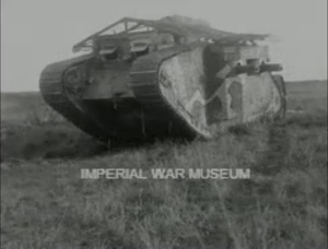 A tank goes into battle in The Battle Ancre and Advance of the Tanks (Britain: British Topical Committee for War Films, 1917) from the Imperial War Museums.