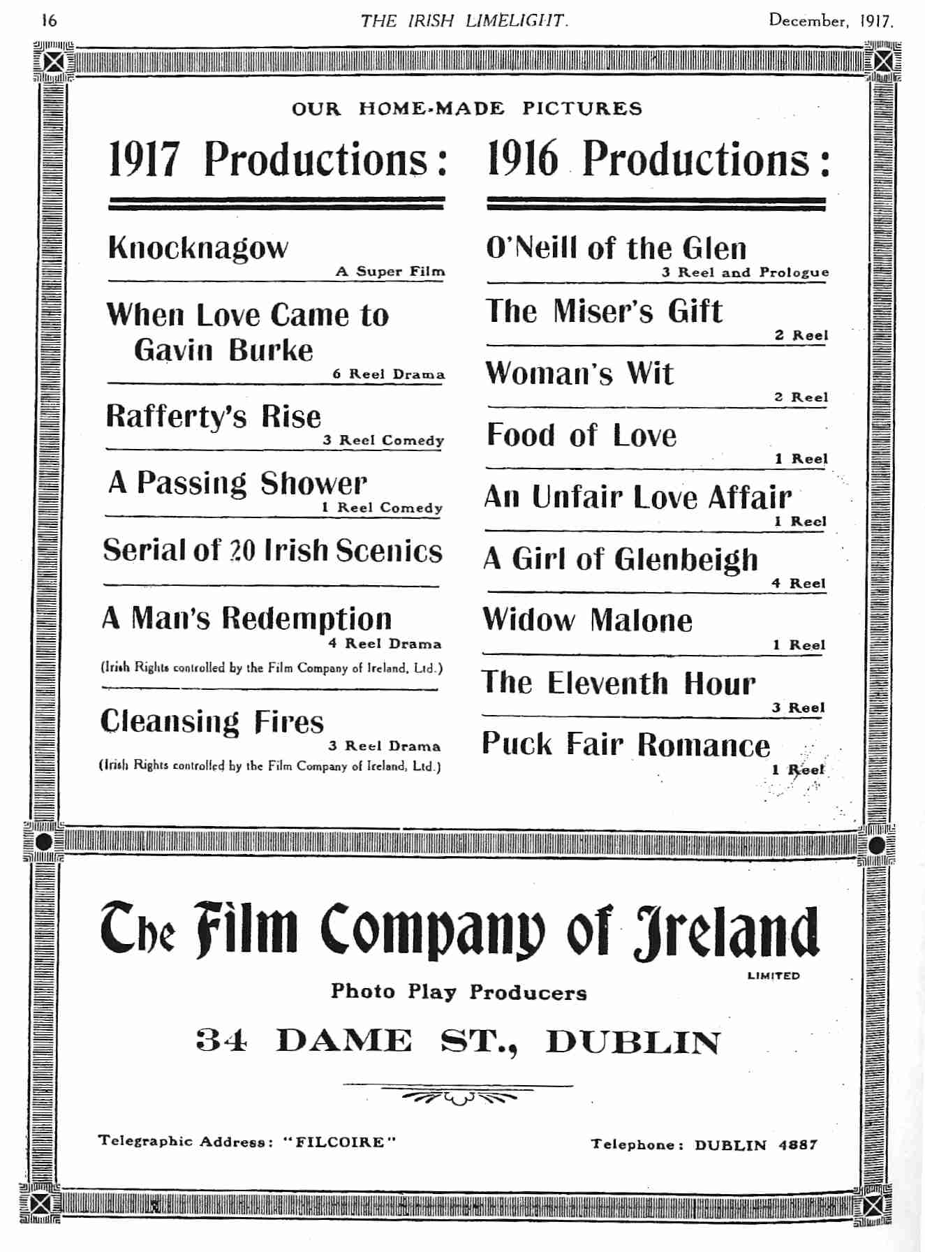Pictures In Ireland By Paddy Bioscope Early Irish Cinema Reel Pioneer Masterpiece Mp 2000 Ad For Fcoi Films Released 1916 And Made 1917 Limelight Dec 16