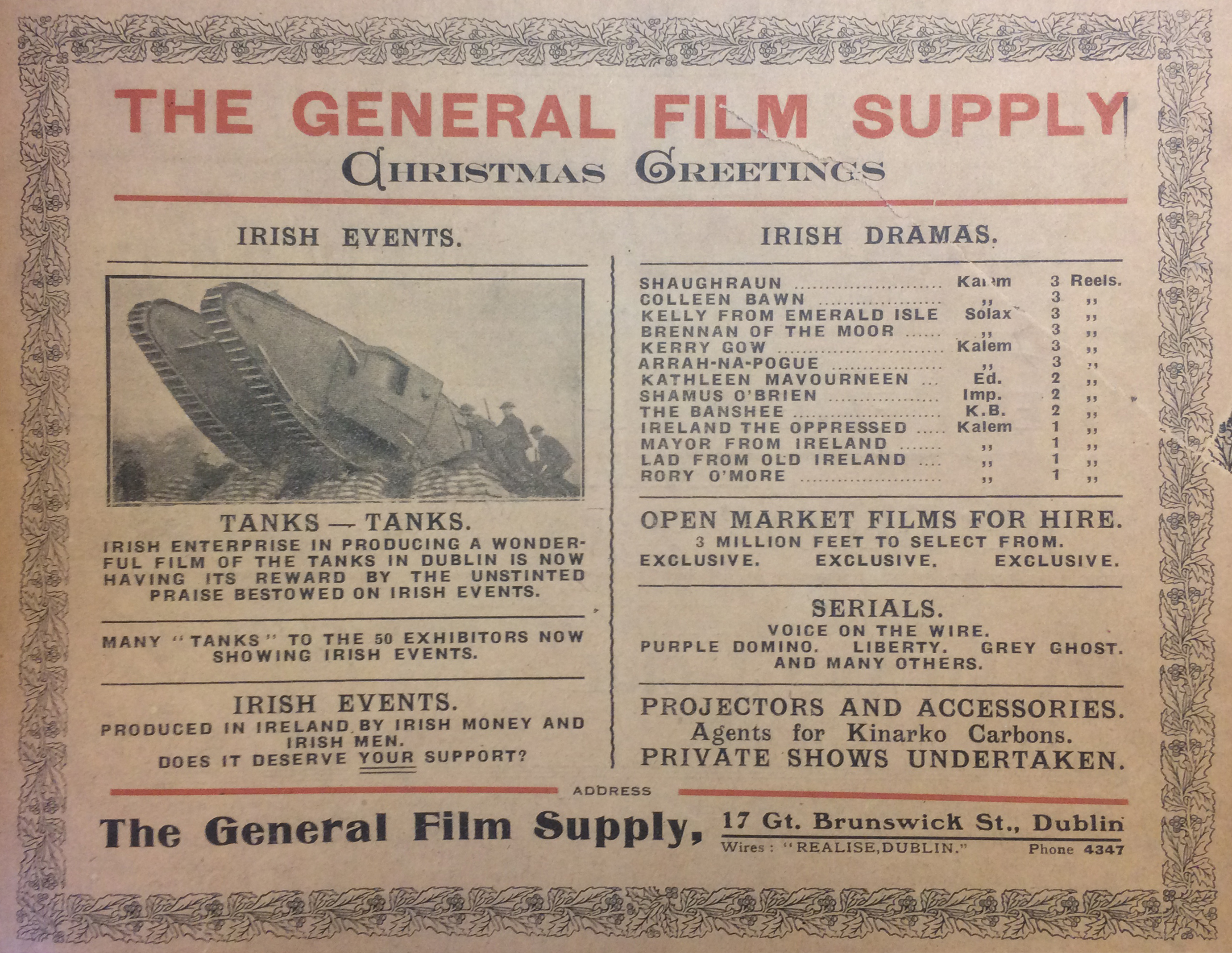 Film Production Companies Early Irish Cinema Reel Pioneer Masterpiece Mp 2000 The General Supply Placed This Ad Prominently On Cover Of December Issue Limelight