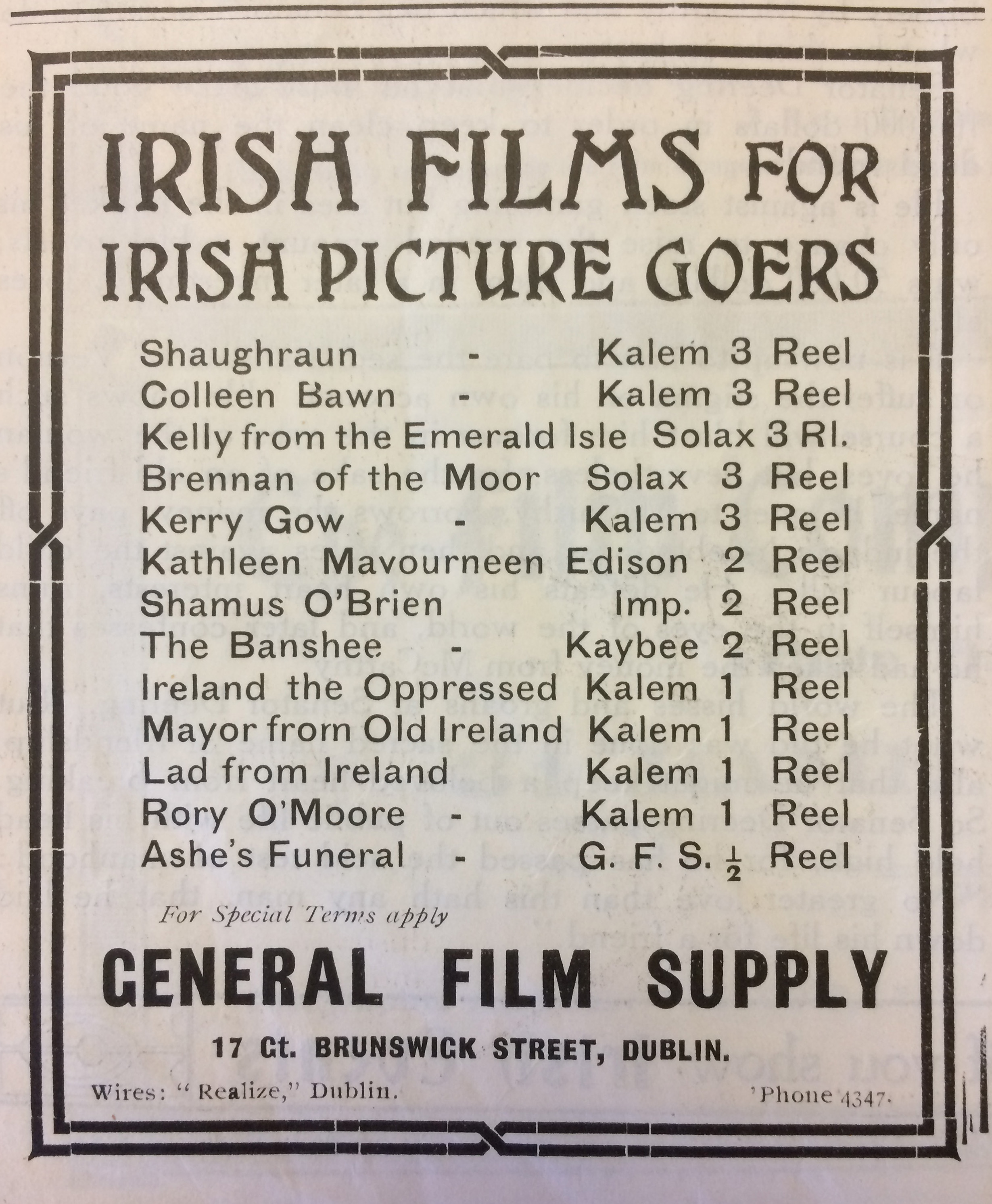 Early Irish Cinema | What\'s On in Irish Cinemas – 100 Years Ago
