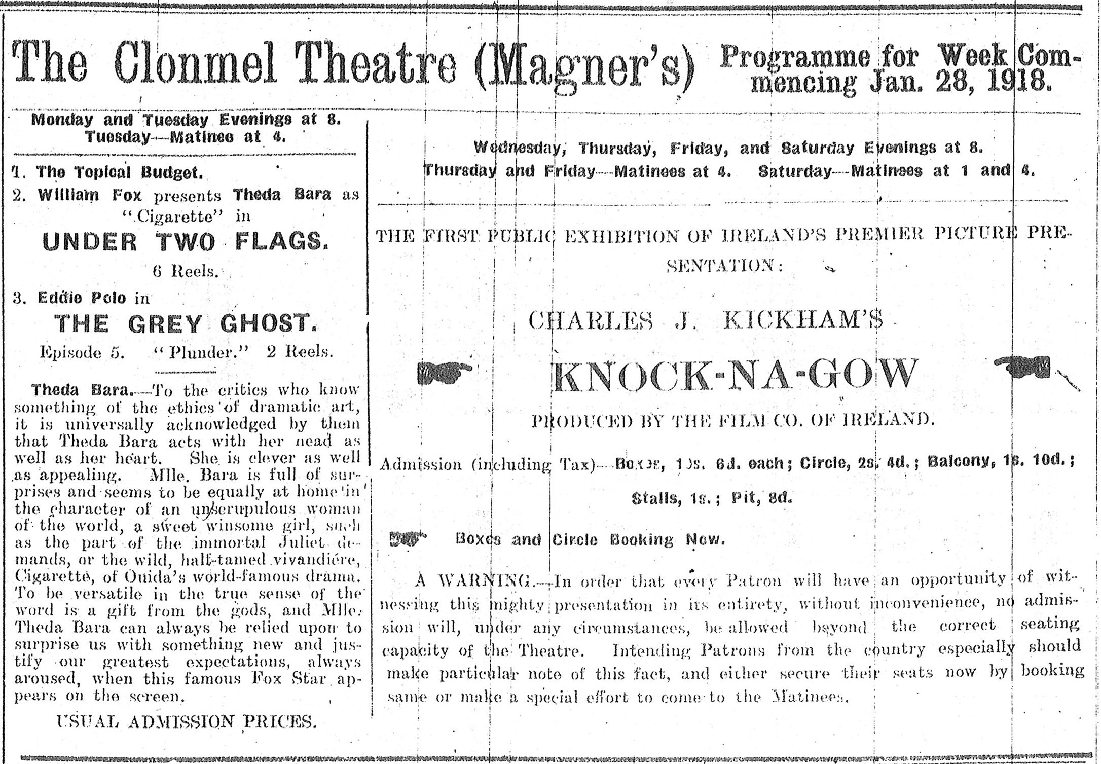 Early Irish Cinema | What\'s On in Irish Cinemas – 100 Years Ago