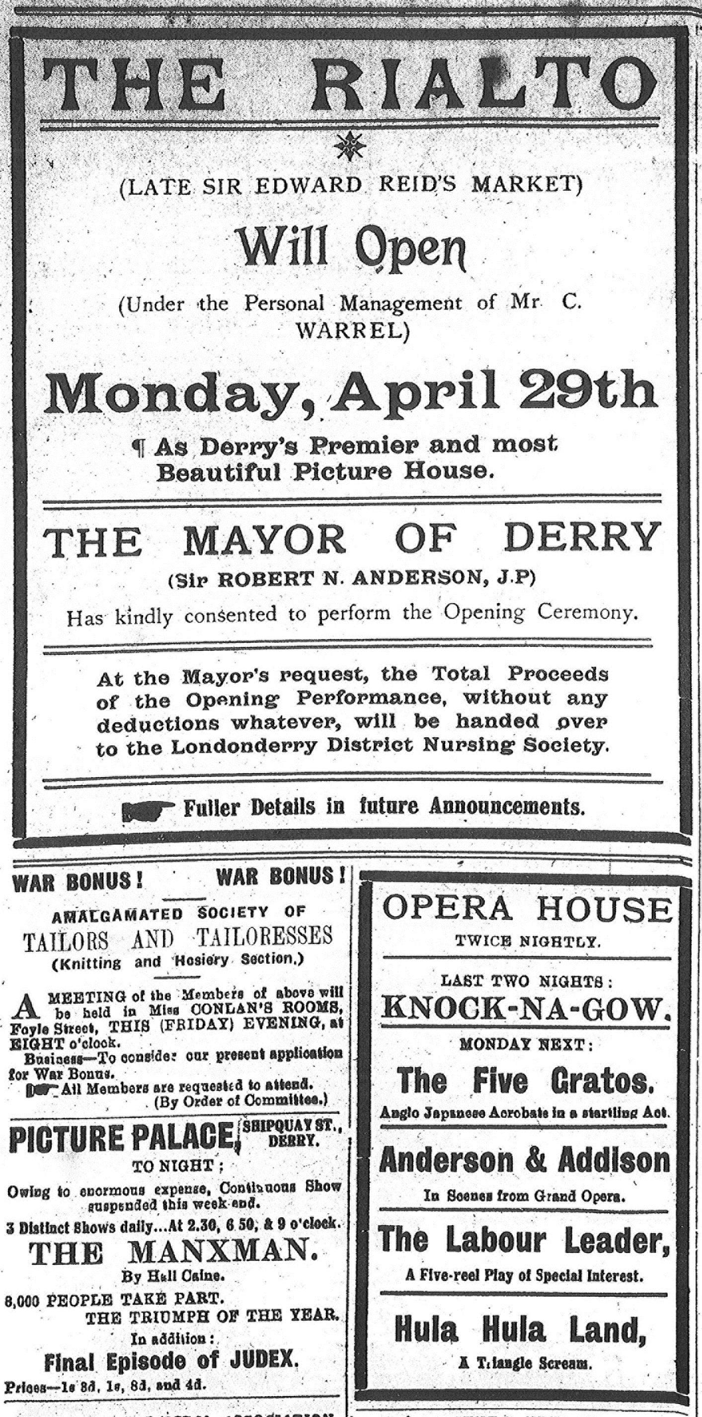 Early Irish Cinema   What\'s On in Irish Cinemas – 100 Years Ago