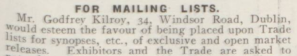 Godfrey Kilroy Mailing List Bio 17 Dec 1914