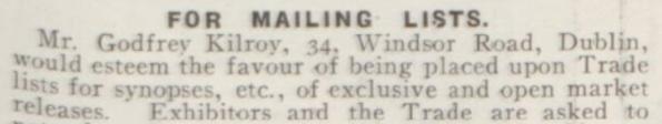 Godfrey Kilroy Mailing List Bio 17 Dec 1914