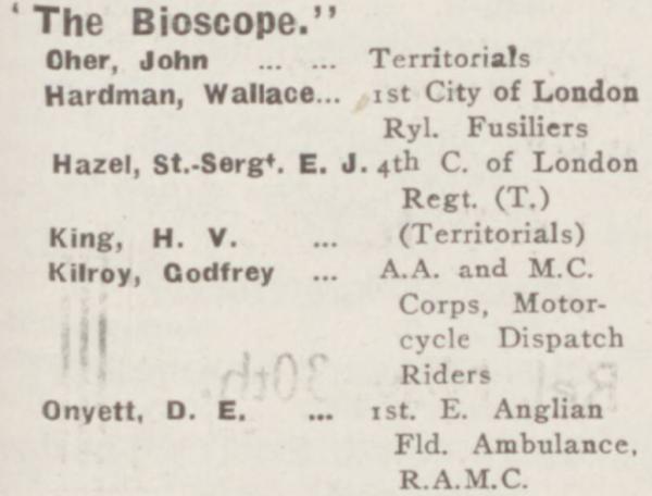 Godfrey Kilroy Roll of Honour Bio 22 Oct 1914