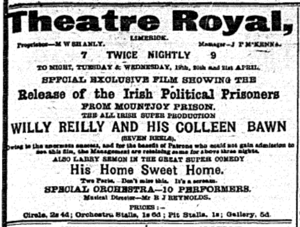 Willy Reilly Theatre Royal LL 19 Apr 1920p3